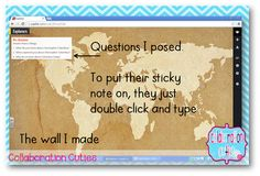 "How to use Padlet~ Online Sticky Notes~ In Classroom Discussion-  This is a very fast and easy way for students to type ""sticky notes"" on a wall.  This can be embedded in a website or a blog. This would be great for a ticket out the door! Find directions on how to set this up here."
