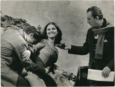 Alain Delon, Claudia Cardinale and Luchino Visconti on the set of Il gattopardo, 1963