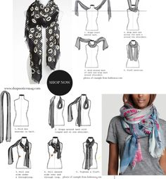 scarf ideas. And piecing it with a plain old tee!