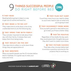 9 Things #Successful People do Right Before Bed. #Infographic #Laureate
