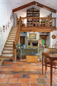 House Plans With Loft Stairs Super Ideas House Plan With Loft, Loft House, House Plans, Rustic Staircase, Staircase Ideas, Rustic Loft, Best Tiny House, Loft Stairs, Metal Building Homes
