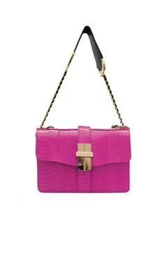 ANGEL JACKSON  SAMAYA MINI BOX BAG IN FUCHSIA SNAKESKIN 1