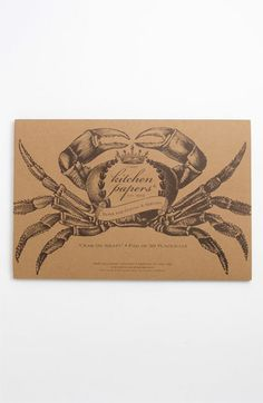 Perfect for the annual crab feed: 'Crab on Kraft' Paper Placemat Pad #nordstrom #home