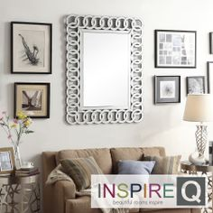 Inspire Q Nihoa Silver Interlocking Rings Rectangular Accent Wall Mirror   Overstock.com Shopping - Great Deals on INSPIRE Q Mirrors