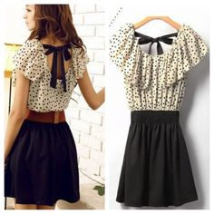 Nwtpolka Dot Dress With Ribbon Back!