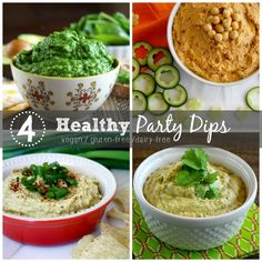4 Healthy Party Dip Recipes using clean ingredients and are a combination of raw, vegan, gluten-free, dairy-free and paleo. Enjoy!