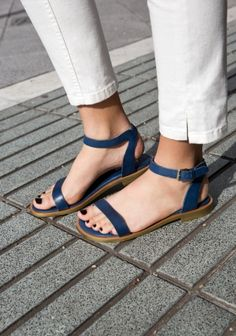 & OTHER STORIES Made from soft blue leather, these flat sandals have a single toe strap and an ankle strap with a glossy gold buckle.