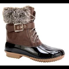 Brown duck boots buckled with fur So comfy! Lined with fleece. Waterproof lower. Fit is true to size. Shoes Winter & Rain Boots