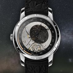 Vacheron Constantin  Sideral Transparency. Composed of 2 sapphire discs, the back dial reveals all the originality of its translucent sky map #CelestialMechanics