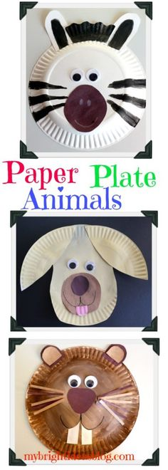 Paper plate crafts are easy and inexpensive. This post shows how to make a dog, beaver or groundhog and zebra from a simple paper plate and googly eyes. Lots of fun and so easy! mybrightideasblog.com