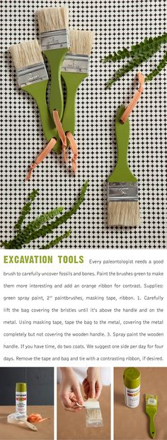 "Dinosaur Party Continued: This is the excavation tools ""how to,"" one of the step-by-step tutorials included in our Dinosaur Party pdf. Happy fossil hunting!"