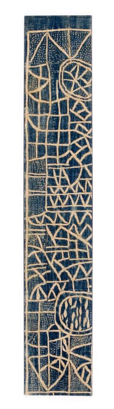 Africa | Panel from a Ndop Ceremonial Hanging. Bamum or Bamileke people  Cameroon. | First half 20th century | Strip woven cotton stitch-resist dyed with indigo.