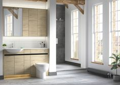 Contemporary fitted bathroom furniture range from Utopia Bathrooms in Washed Oak with a matt black metallic handle strip. Small Bathroom With Shower, Master Bathroom, Bathroom Sinks, Bathroom Ideas, Fitted Bathroom Furniture, Modern Baths, Scandi Style, Grey Bathrooms, Grey Walls