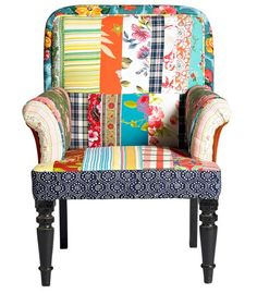 I've just found Patchwork Armchair. A glorious random patchwork chair . Patchwork Chair, Patterned Armchair, Fabric Armchairs, Wingback Chair, Chair Upholstery, Decoration, Home Furnishings, Accent Chairs, Quilts