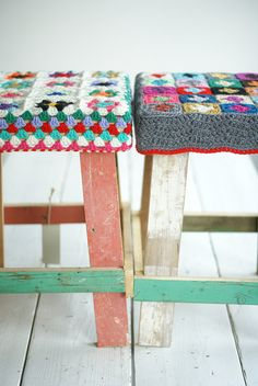 repainted wooden footstools with crochet cushions. love love love