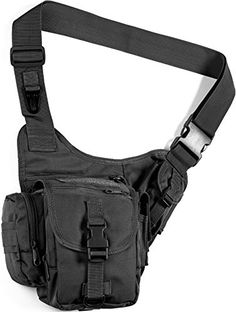 "Sidekick Sling Bag Black. Measures 8 1/2"" x 3"" x 9"". 600 Denier PVC lined construction. Soft mesh back panel contours to hip for a fitting carry. Cross body adjustable strap for hands-free carry. Back panel access serves as a potential concealed carry compartment. Three external utility pouches perfect for a phone, pistol clip, pepper spray or first aid kit. Large main compartment with water resistant drawstring closure. Weight: 1.2 lbs. Color: Black."