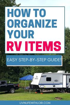 Here's a step by step guide to organize your RV Camping items! The best way to have an easy campground set up or departure is to be organized! Camper Life, Rv Campers, Rv Life, Camper Trailers, Camping Items, Camping Essentials, Camping Hacks, Camping Gear, Camping Outdoors