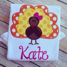 Boys or Girls Turkey Applique Tshirt by BabyBugBoutiqueNOLA