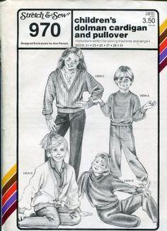 Stretch & Sew Pattern 970 ~ Children's Dolman Cardigan & Pullover