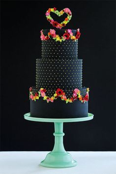 Beautiful Cake Pictures: Black Cake & Colorful Flowers: Cakes with Flowers, Colorful Cakes, Wedding Cakes