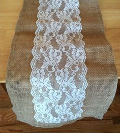 Burlap & Lace Table Runner with a Variety of Lace Color Options. Great for Weddings and Other Special Events. Rustic and Chic.. $14.00, via Etsy.