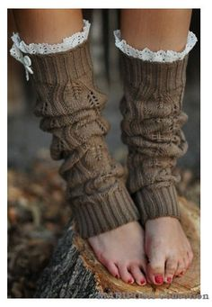 Leg Warmers Knit Boot Socks Brown Knitted Leg by Liloumariposa