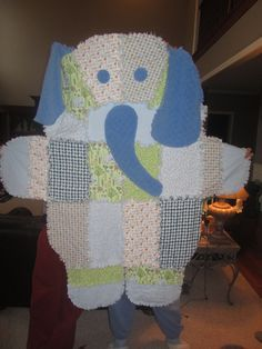 Rag quilt Bear shaped in tans and browns by whatauniqueboutique bear rag quilts#13 Pinterest ...