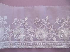 Your place to buy and sell all things handmade Embroidered Roses, Guest Towels, Tulle Lace, Band, Pink Roses, White Lace, Bed Pillows, Ribbon, Bridal
