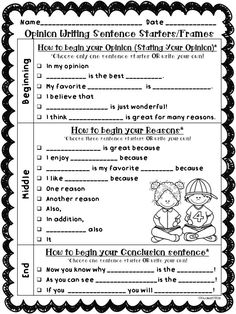 Back to School & Beginning of the Year Writing: This set of Opinion & Narrative writing sentence starters/frames, graphic organizers, and publishing templates are perfect to help your little writers write opinions and narratives.Included are three differe Second Grade Writing, Sentence Writing, Narrative Writing, Persuasive Writing, Sentence Stems, Writing Rubrics, Kindergarten Writing, Teaching Writing, Literacy