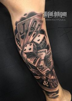 By miguel bohigues, spain tatouage poker, dice tattoo, v tattoo, poker tattoo Chicano Tattoos, Leg Tattoos, Body Art Tattoos, Sleeve Tattoos, Poker Tattoos, Stomach Tattoos, Tattoos Skull, Casino Tattoo, Vegas Tattoo