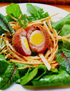 My Scotch quails' eggs in straw potato nests. The presentation is everything!!!!!!!!!!