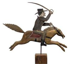 A PINE AND SHEET-METAL SOLDIER-ON-HORSEBACK WEATHERVANE
