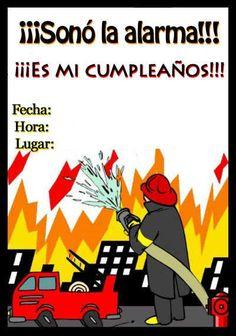 invitacionbomberos Fireman Party, Ideas Para Fiestas, Fire Trucks, Firefighter, Birthdays, Happy Birthday, Baby Shower, Salvador, Firefighter Cakes