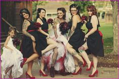Rockabilly wedding bridal party photos - Love the black dresses with red belt and red shoes