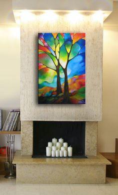 Arbre abstrait sur toile reproduction sur par SallyTraceFineArt