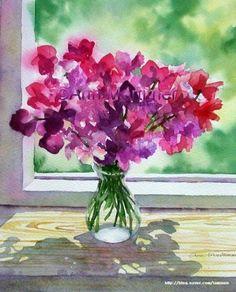 꽃 그림이 유난히 아름다운 Ann Mortimer의 수채화 한번 감상해 보세요. 작업을 위한 여러개의 자료와 습...