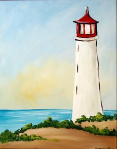 Simple-And-Easy-Lighthouse-Painting-Ideas Easy Watercolor, Watercolor Paintings For Beginners, Acrylic Painting Tutorials, Beginner Painting, Simple Paintings For Beginners, Lighthouse Painting, Acrylic Art, Simple Acrylic Paintings, Easy Nature Paintings