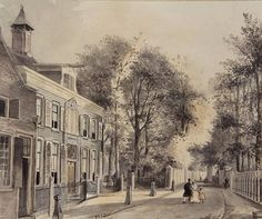 Streetview By Frans Breuhaus de Groot (Dutch, 1796-1875) drawing, watercolor laid on board under passepartout; 22 x 26 cm Place of creation: Leiden, Netherlands Private Collection