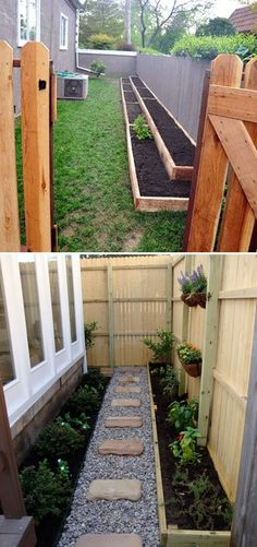 If you want to have your own veggie garden, you can use it even you just has a n. If you want to have your own veggie garden, you can use it even you just has a narrow side yard. You can build a wooden raised garden bed along the si. Backyard Vegetable Gardens, Backyard Garden Design, Backyard Landscaping, Small Yard Vegetable Garden Ideas, Small Garden Bed Ideas, Indoor Garden, Simple Garden Ideas, Cheap Garden Ideas, Home Vegetable Garden Design