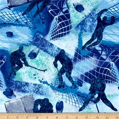 Allstars Hockey Blue from @fabricdotcom  From Fabri-Quilt, this cotton print fabric is perfect for quilting, apparel and home decor accents. Colors include shades of blue, green and purple.