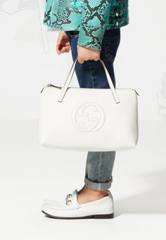 Gucci Kids' SS 2014 Collection: Leather Tote With Interlocking G Detail and White Leather Horsebit Loafer