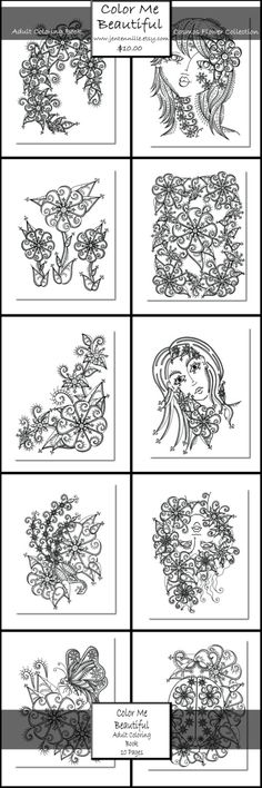 INSTANT DOWNLOAD Adult Coloring Page PDF Color Me Beautiful Adult ...