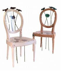 """Chaises """"Mises à nue"""" designée par Magali Jeambrun, ETC créations - Sélection d'objets déco motifs fleurs - Ces chaises de style Louis XVI ont été détournées et transformées en véritables oeuvres d'art prenant des allures de sculptures et mettant en avant des matière surprenantes..."""