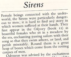 This is an example of some of the information I found. I also read about specific stories including sirens and their different depictions in other cultures.