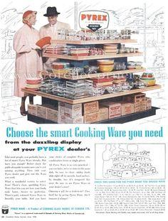 June 1956 advertisement, clear Pyrex, opal Pyrex, Flameware