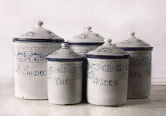 French enamelware canisters
