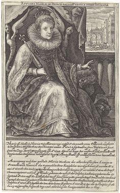 Crispijn van de Passe (I) | Portret van Maria de' Medici, Crispijn van de Passe (I), in or after 1610 - 1637 | Portret van Maria de' Medici, koningin van Frankrijk. Ze zit op een troon en maakt een zegenend gebaar met haar linkerhand. Op de achtergrond de intocht van Maria de' Medici. In de marge een vierregelig onderschrift in het Latijn en een achtregelig onderschrift in het Duits dat verwijst naar haar huwelijk en haar kinderen. Pendant van een portret van Lodewijk XIII.