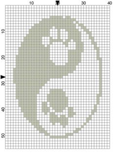 ink saver paw print ying yang PDF cross by CrossStitchGraphghan