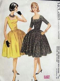 1960 McCALLS 5729 FULL SKIRTED DRESS PATTERN SQUARE NECKLINE  ATTACHED PETTICOAT SO MAD MEN PAN AM