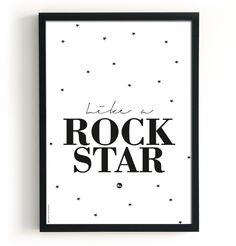 Poster | Rock Star 2 in 1 | Dubbelzijdig bedrukt | Handig!